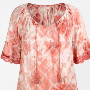 Maurices Pink Tie Dye Embroidered Trim